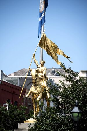 ironwork: Joan of Arc Statue in the French Quarter of New Orleans a Louisiana city on the Mississippi River, near the Gulf of Mexico. Nicknamed the Big Easy Editorial