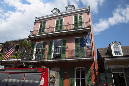 ironwork: Typical Architecture in the French Quarter of New Orleans a Louisiana city on the Mississippi River, near the Gulf of Mexico. Nicknamed the Big Easy