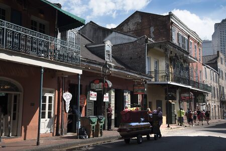 nicknamed: Typical Architecture in the French Quarter of New Orleans a Louisiana city on the Mississippi River, near the Gulf of Mexico. Nicknamed the Big Easy