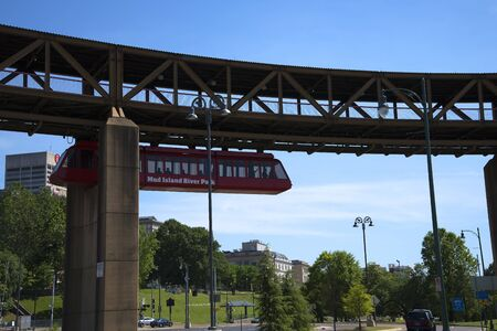 graceland: Overhead railway to Mud Island at Memphis Tennessee Editorial
