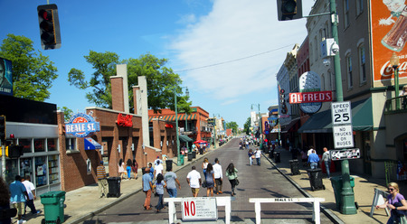 Lively Beale Street in Memphis Tennessee USA Editorial