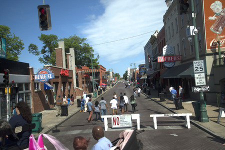 Lively Beale Street in Memphis Tennessee USA Sajtókép
