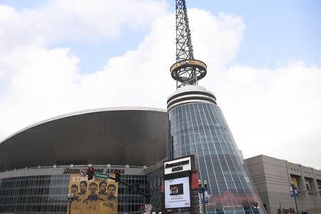 gold record: The Country Music Hall of Fame in Nashville Tennessee USA shaped like a flying Piano Keyboard Editorial