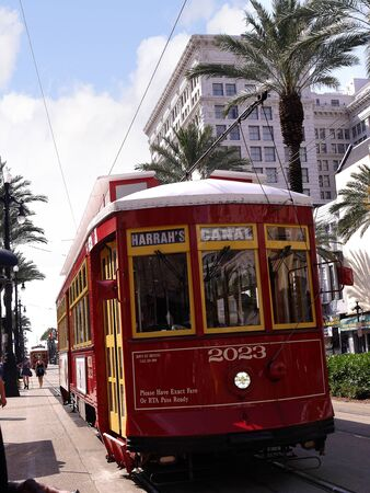 Typical Tram in New Orleans a Louisiana city on the Mississippi River, near the Gulf of Mexico.