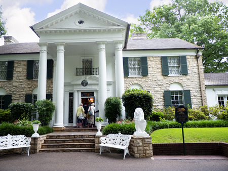elvis presley: Graceland is the home of Singer Elvis Presley in style of an antebellum  mansion and a magnet for music fans