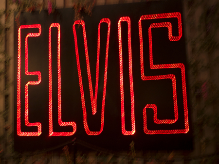 graceland: Elviss Neon Sign in collection in Memphis Tennessee USA Editorial
