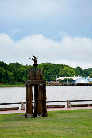 Sculpture on the side of the River Savannah in Georgia USA