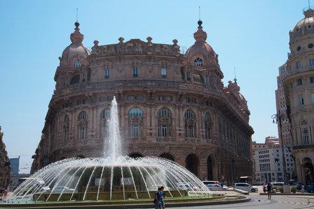 Fountain in the Piazza Ferrari in Genoa Italy