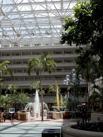 concourse: Hotel in the foyer and concourse of the Orlando International Airport in Florida USA Editorial
