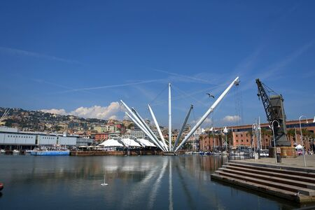 The Bigo, a panoramic lift on the Waterfront in Genoa Italy