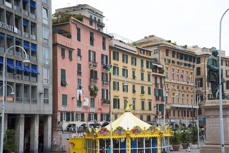 dockside: Dockside Building on the quayside in the Port of Genoa Italy