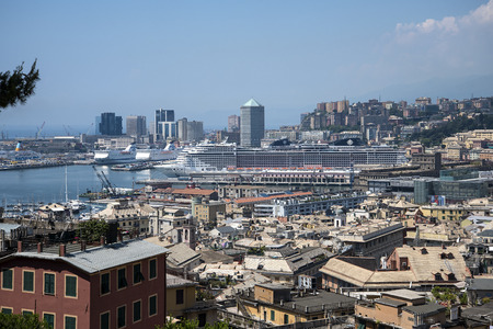 View over the city of Genoa in Liguria Italy