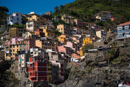 The village of Riomaggiore on the Cinque Terra Coastline in Liguria Italy