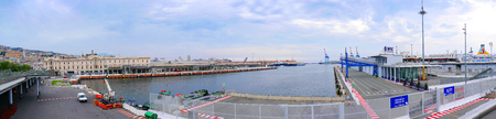 Panorama of the Dock Buildings at Genoa Italy Editorial