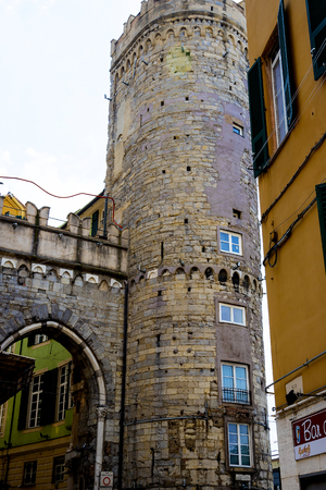 Entrance Gate in what remains of the 17th century City Walls in Genoa Italy