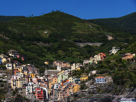 The fishing villages of Monterosso al Mare,Vernazza, Corniglia, Manorola and Riomaggiore of the Cinque Terra Liguria Italy