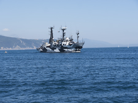 dazzle: Dazzle Anti Poaching Boat off the Cinque Terra in Liguria Italy