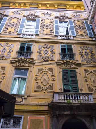 architecture monumental: Architectural Detail in the narrow alleyways or Carruggi around the city of Genoa in Italy Editorial