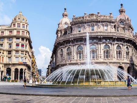 Piazza De Ferrari is the main square of Genoa Italy