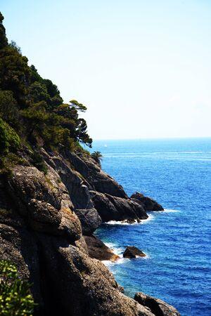 Cliffs at Portofino on the Italian Riviera in Liguria Italy