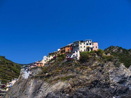 The fishing villages of Monterosso al Mare,Vernazza, Corniglia, Manorola and Riomaggiore of the Cinque Terra Liguria Italy