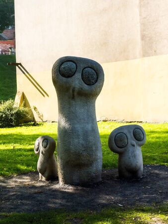 Owls Statue in Planty Park in the City of Krakow in Poland