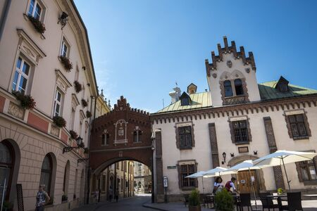 Buildings by the Florian Gate in Krakow Poland