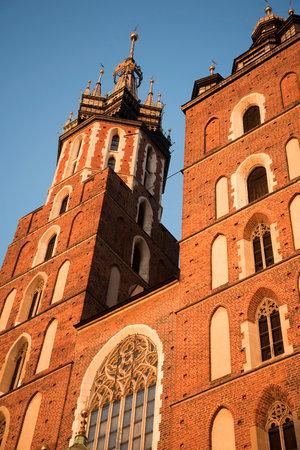 Mariacki Basilica in Krakow Poland at sunset Editorial