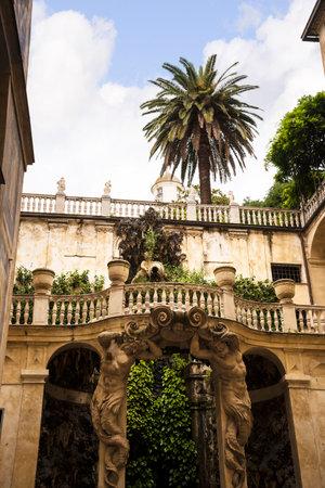 Ornate city Garden in Genoa Italy