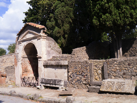 Necropolis in the ruined city of Pompeii Italy