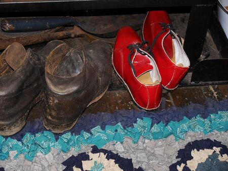 brenda kean: Men and Womens clogs on Narrow Boat on Canal in Burnley Lancashire Editorial
