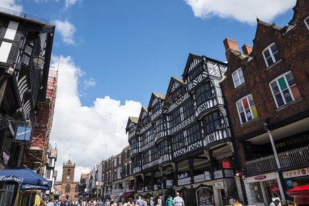 The Rows are unique in Britain. The Rows are Tudor Black and White Buildings in Chester the county city of Cheshire in England. Much of the architecture of central Chester looks medieval and some of it is but by far the greatest part of it, including most Editorial