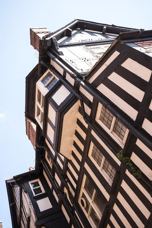 The Rows are Tudor Black and White Buildings in Chester England Editorial