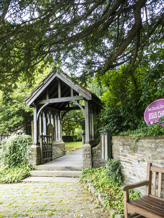 The Lychgate of St Christopher`s Church is in the small village of Pott Shrigley, Cheshire, England