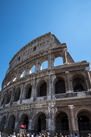 tourist site: The Colosseum was the Flavian Amphitheatre built by Vespasian in what was the lake of Nero�s Golden House is the most famous monument in Rome Editorial