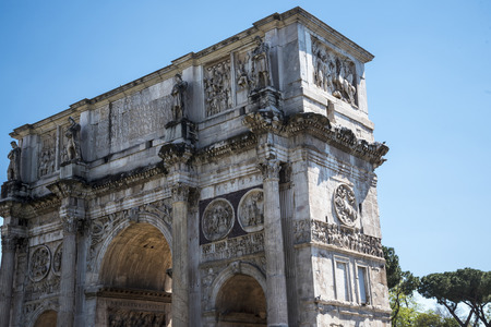 The Arch of Constantine by the Coliseum  In Rome Italy Editorial