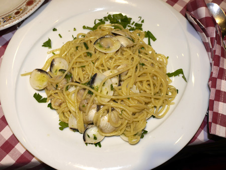 Spaghetti Met Clams In Rome Italië Stockfoto