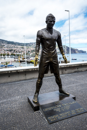 This statue of footballer Cristiano Ronaldo is on the Quayside in Funchal on the island of Madeira
