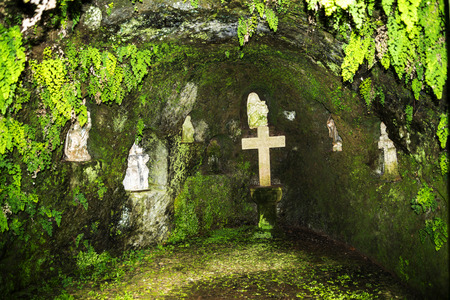 Cavern chapel in Tropical Garden at Monte above Funchal Madeira