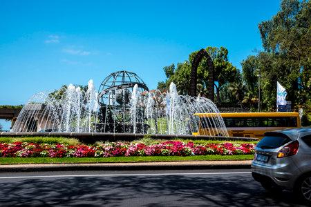 Traffic Island by Santa Catarina Park in Funchal Madeira
