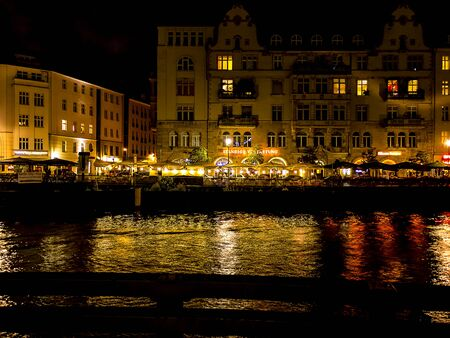 bode: The Reflections in the River Spree at night in Berlin Germany
