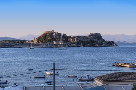 View of the Bay at Corfu Town on the Greek island of Corfu Editorial