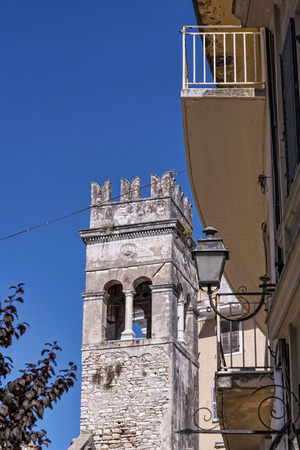 Tower in the Centre of the Old Town of Corfu in Greece Editorial
