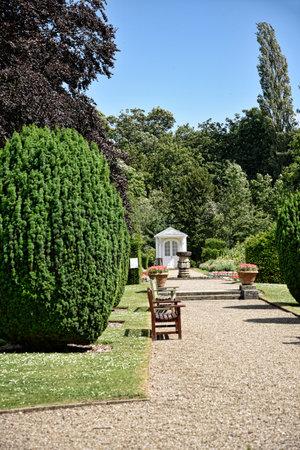 Summerhouse in beautiful garden in West Yorkshire England Editorial