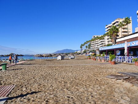 Quiet beach in the Stylist Town of Marbella on the Costa del Sol Spain