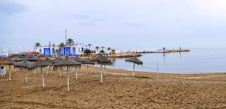 Beach in the stylish resort of Marbella on the Costa Del Sol in Andalucia Spain Editorial