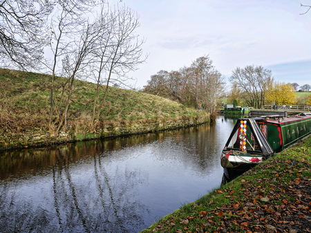 Salterforth England  . The Leeds Liverpool Canal at Salterforth in the beautiful countryside on the Lancashire Yorkshire border in Northern England