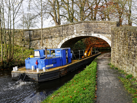 Salterforth England The Leeds Liverpool Canal at Salterforth in the beautiful countryside on the Lancashire Yorkshire border in Northern England Editorial