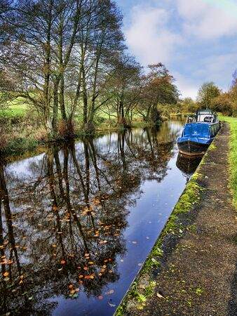 The Leeds Liverpool Canal at Salterforth in the beautiful countryside on the Lancashire Yorkshire border in Northern England