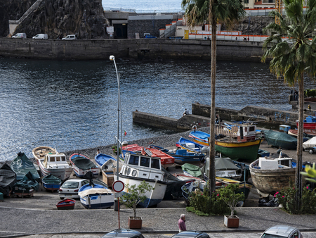 Camara de Lobos a fishing village near the city of Funchal Madeira has some of the highest cliffs in the world 에디토리얼